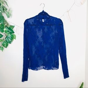 🔥intimately free people blue lace mock neck top